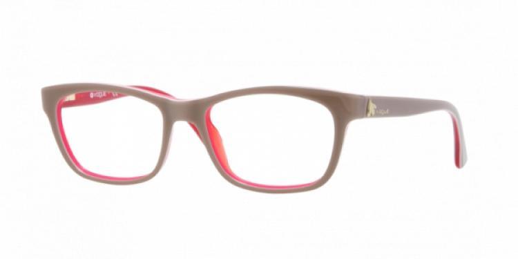Vogue Brille VO 2767 1987 Gr.50 in der Farbe top beige, red / beige, rot hinterlegt