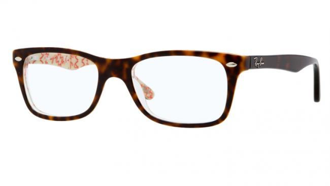 unverwechselbarer Stil weich und leicht einzigartiges Design Ray-Ban Kunststoff Brille RX 5228 5057 Gr.53 in der Farbe braun / beige  hinterlegt mit Text